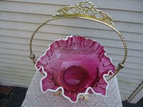Vintage Brides Basket ~ Ruby Glass ~ Great For Wishing Tags