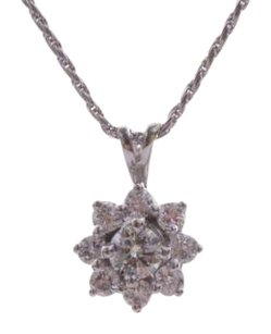 Other Estate 14K White Gold Diamond Flower Necklace