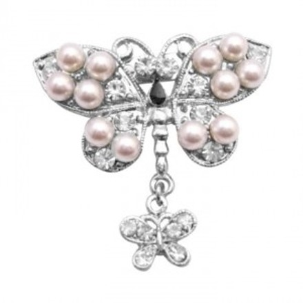 Vintage Exquisite Pearls Decorated With Cubic Zircon Butterfly Brooch