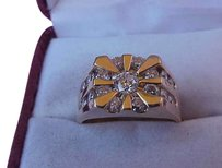 Vintage $7,148 Unisex 2 ct solitaire brilliant cut diamond 14 kt yellow gold ring
