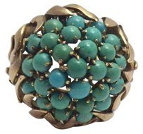 Other Vintage 14K Yellow Gold Persian Turquoise Harem Cluster Ring Size 8 1/