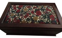 Vintage Vintage Fabric covered floral Jewelry Box Lots of storage 11 inch by 6 inch 4 inch height