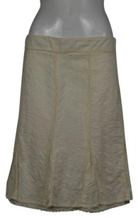 Viola Womens Embroidered Wtw Below Knee Skirt Off White