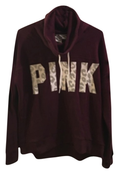 VS Pink Funnel/Cowl Neck Maroon Snow Leopard