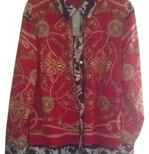 WD.NY Button Down Shirt Multi Red Black Gold Brown White Violet