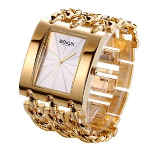 Weiqin Weiqin* 18K Gold Plated Rhinestone Women's Wrist Watch Bangle.
