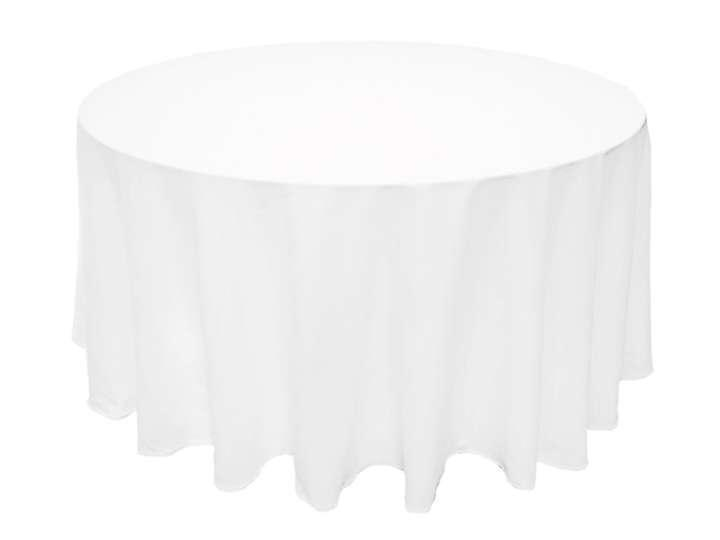 White 6 X 120 Round Polyester Tablecloth