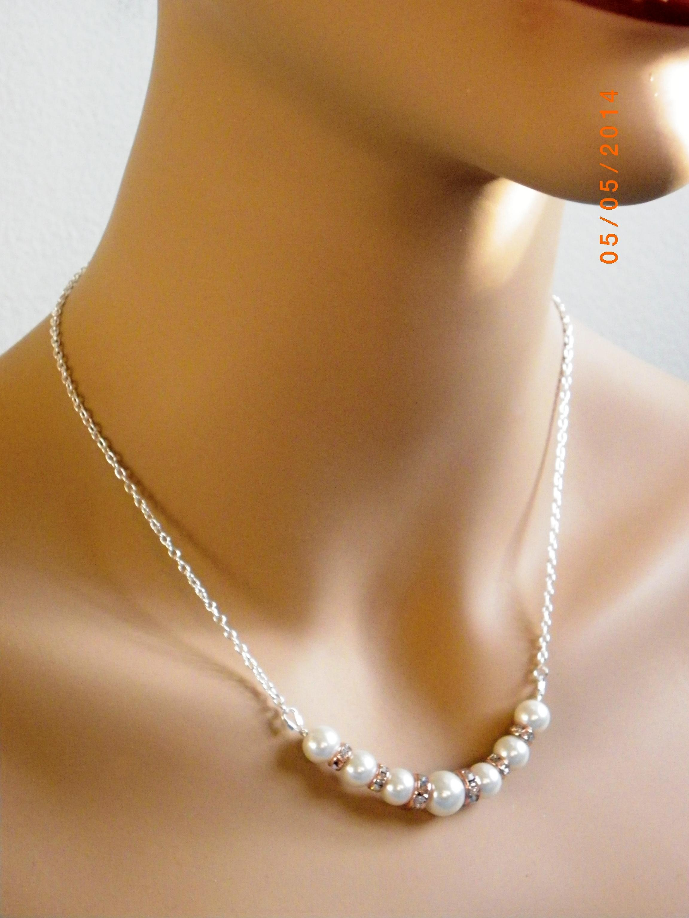 White Cream Ivory Pearl Necklace and Earrings Rose Gold Rhinestone