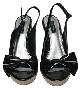 White House | Black Market Patent Leather Wedge Heel Sandals B3391 Black Platforms