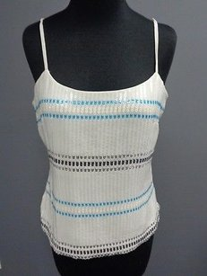 White House | Black Market Sequined Lined Sma4237 Top White Blue Silver