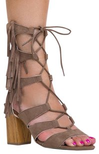 Wild Diva Ankle-strap Block Heels-and-pumps High Susie08taupe-10 Beige Sandals