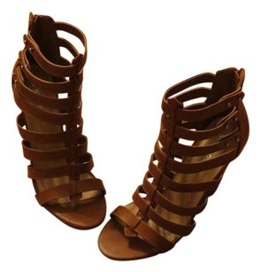 Wild Diva Leather Brown Sandal Casual Cognac/Brown Wedges