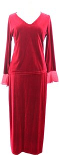 Willi Smith Willi Smith Woman Designer Red Velvet 2-Piece Skirt and Top Set Size L