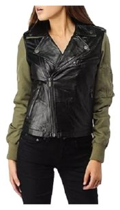 William Rast Black and army green Leather Jacket