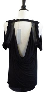 Willow & Clay Faux Leather Drape Au Top Black