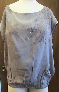 Willow & Clay And Lavender Floral Print Rhinestone Embellished G682 Top Gray