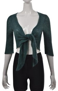 Wooden Ships Womens Teal Shrug Ml Open Front Sweater