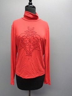 Worth Long Sleeved Stretchy Embroidered Turtleneck Rayon Blend Sm7469 Top Red