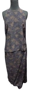 Worth Worth Blue Gold Abstract Silk Lined Two Piece Casual Skirt Suit Sma12064