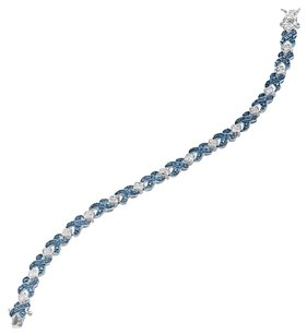 XOXO Tennis Bracelet with Blue Diamond in Sterling Silver over B