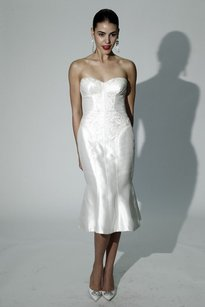 Zac Posen Truly Zac Posen Mikado Short Wedding Dress With Corset Wedding Dress