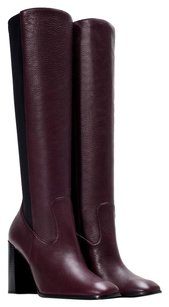 zara Leather Knee Length Burgundy Boots