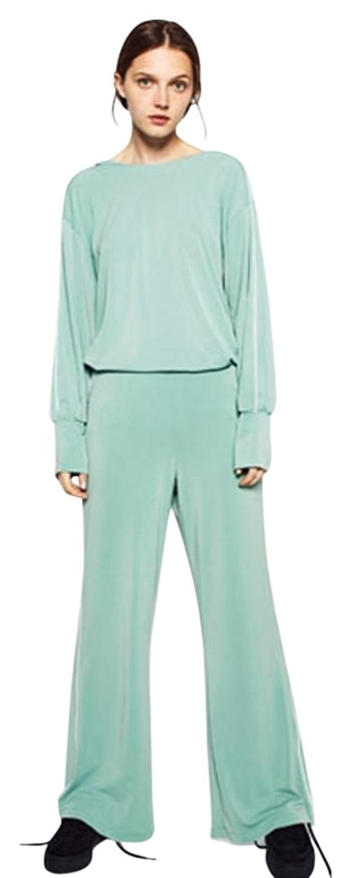 Zara Sea Green 2 Pieces Set Wide Leg Trousers and Loose ...