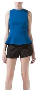 Zara Shell Top WOMENS BLUE BRIGHT PEPLUM TOP STRETCHY MEDIUM