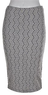 Zara Trafaluc Womens White Navy Blue Straight Textured Skirt Multi-Color