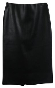 Zara Woman Womens Solid Straight Below Knee Career Skirt Black