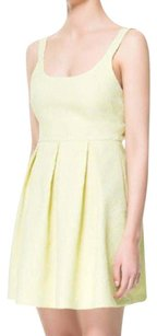 Zara Yellow Tea Length Open Back Empire Wai A Line Dress